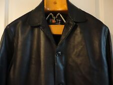 ROOTS Black Soft Leather Exposed Raw Edge Seams Button Front Car Coat L Canada