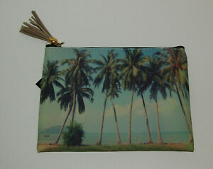 Palm Trees Zippered Pouch Makeup Bag New Beach Tropical Vacation