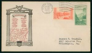 MayfairStamps US FDC Sealed 1934 Combo Grand Canyon J A Roy First Day Cover wwo9