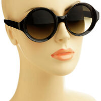 Cool Pop Out Frame Womens Retro Vintage Style Cirlce Round Sunglasses Black