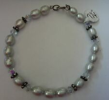 "7.25"" Sterling Silver Daisy bead 7mm Grey Fresh Water Pearl 5mm Crystal Bracelet"