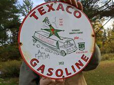 New ListingOld Vintage 1953 Texaco Gasoline & Motor Oil Porcelain Gas Oil Sign! Station