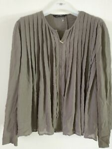 Zara XL Pleated Full Zip Top Jacket Blouse Dark Taupe