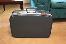 Vintage Blue Retro Suitcase with Silver Trim, Small Hard Travel Luggage Suitcase