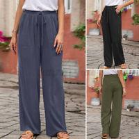 Women Elastic Waist Chino Pants Casual Loose Wide Leg Palazzo Trousers Plus Size