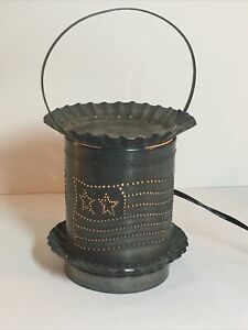 Rustic Punched Metal Wax Oil Warmer, Irvin's Country Tin Ware, Electric