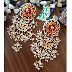 Meenakari Designer Gold Plated Party Wear Wedding Kundan Long Earrings Jewelry