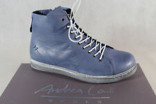 Andrea Conti Women's Ankle Boots Lace up Boots Leather Blue New
