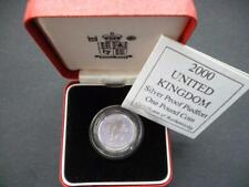 2000 UK ROYAL MINT SILVER PROOF PIEDFORT DOUBLE THICK £1 COIN CASED WITH COA.