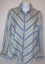 *TOMMY HILFIGER*SHIRT*Size L*diagonal stripe yellow/blue*LNC