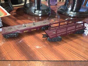 Marx O Scale SOU. 51100 Flatcar & Erie Flat Car With Maroon Rails