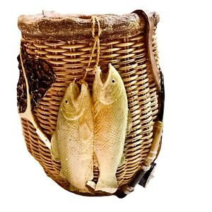 Fishermans Ceramic Basket Home Decor With Fish Hat Rod N Reel For Man-Cave