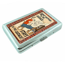 Vintage Poster D230 Silver Metal Cigarette Case Card Wallet Happens in Garage