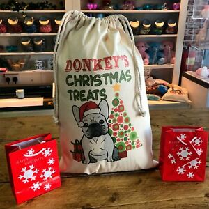 Personalised Dog Santa Sack French Bulldog - Donkey Design