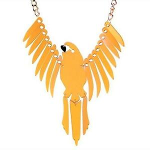 T197...HUGE GOLD ACRYLIC NECKLACE - PARROT IN FLIGHT - FREE UK P&P