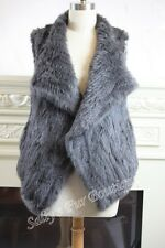 NEW 100% RABBIT FUR WATERFALL SHORT VEST CHARCOAL SIZE S M L