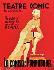 Vintage Theater Poster/Spanish Comic Theater/Burlesque/Can,Can Dancer/17x22in
