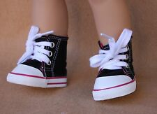 Doll Clothes fitting 18 in American Girl Dolls Black Canvas Hi Top Sport Shoes