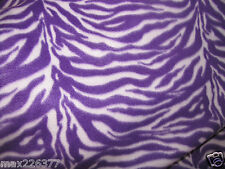 NEW POLAR fleece ANIMAL PRINT ZEBRA  PURPLE  WHITE print  fabric  by the yard 1