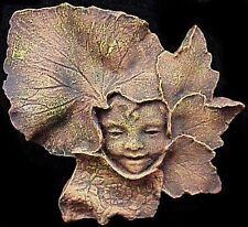 Vintage Green Man Boy Leaf Face Wall Plaque Home Garden Decor 10040