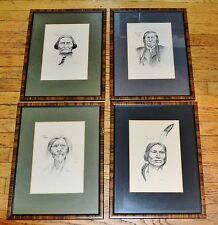 4 Jim Beaman 1975 Lithographs, Historic Native Americans, Framed & Matted