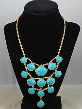 Lucky Brand Goldtone Semi-Precious Turquoise Set Stone Collar Necklace JLRY0747
