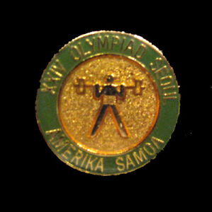 SEOUL 1988 Olympic AMERICA SAMOA  NOC WEIGHT LIFTNG team delegation scarce pin