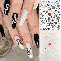 3D Nail Stickers Snake Flower Letter Pattern Transfer Decals Nail Art Decoration