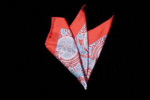 Mens BEN SILVER Pocket Square, Sky Blue Pink Paisley on Crimson Red Silk Germany