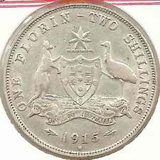 1915H KGV AUSTRALIA 2/- TWO SHILLINGS Sterling Silver HIGH GRADE aEF see scans