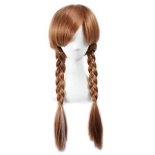 Frozen Princess Anna Wig Brown White Mixed Braided Cosplay Wig + Wig Cap