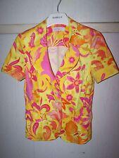 LUXUS COUTURE BLUMEN ESCADA pink Blazer jacket 36/38 SEIDE Hochzeit FLOWER gold