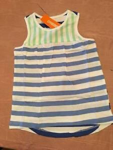 NWT Gymboree Mix n Match Blue & Green Striped Sleeveless Top Girls 5678