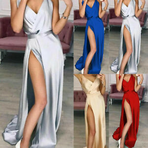 Womens Side Slit Evening DressesSatin Deep Sexy V Neck Backless Maxi Club Dress