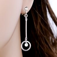 "#E122H PAIR 2"" Long NON-PIERCED CLIP ON EARRINGS Dangle MINI Hoop Bar Crystal"