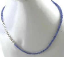 """Natural Tanzanite Gemstone 925 Sterling Silver Single Line Beads Necklace 20"""""""