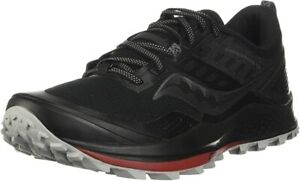 Saucony Men's Peregrine 10 Trail Running Shoe, Black/Red, 9 D(M) US