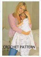 (748) Baby Shawl Copy Crochet Pattern and Blanket, in DK yarn