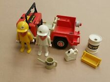1981 PLAYMOBILE VALVOLIN JEEP MODEL WITH 1974 HELLA PLAYMOBIL FIGURES & ACCESS