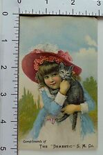 The Domestic Sewing Machine Co Adorable Girl Red Hat & Cute Cat *A