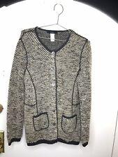 Les Copains Wool Alpaca knit cardigan Brown Grey beige Button Front Luxury SZ 50