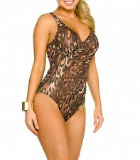 Ladies Tan Through Support Swimsuit Swimwear by Kiniki size 12