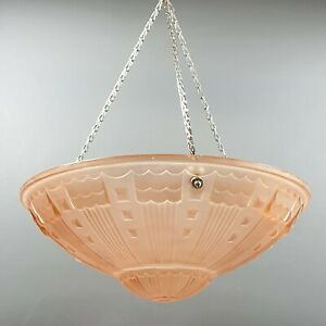 Vintage French Art Deco Pink Frosted Glass Flycatcher Pendant Lamp Moulded Light