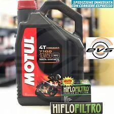 4 Litri Olio Motore MOTUL 7100 10W50 4T Moto 100% Sintetico MA2 + Filtro HIFLO