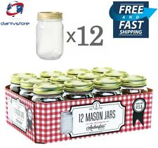 Anchor Hocking Pint Mason Glass Canning Jars with Lids and Bands, Set of 12