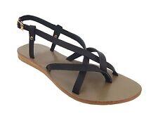 Flache Damen-Sandalen & -Badeschuhe-Zehentrenner aus Echtleder ohne Muster