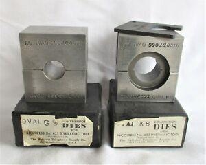 Set of 2 – Nicopress 635 Hydraulic Tool Compression Dies * Oval G9 & K8