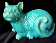 CAT Sculpture . CHINESE Early 1900s Turquoise Hand Painted and Glazed . Stunning