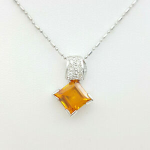 Ladies Necklace 18ct (750,18K) White Gold Large Citrine & Diamond Necklace