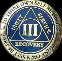 3 Year AA Medallion Blue Gold Plated Alcoholics Anonymous Sobriety Chip Coin